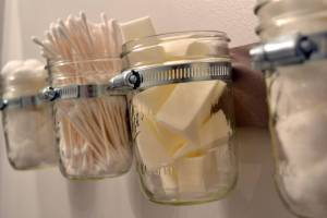 Ball jars for cotton balls, bathroom decorating